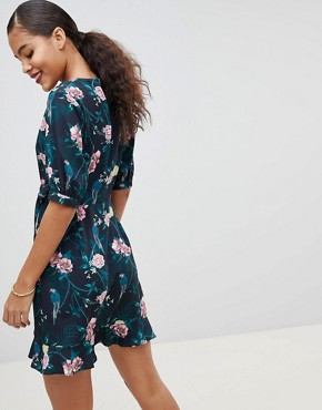 photo Wrap Dress in Romantic Floral by Fashion Union Tall, color Parrot - Image 2