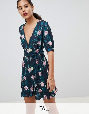 photo Wrap Dress in Romantic Floral by Fashion Union Tall, color Parrot - Image 1