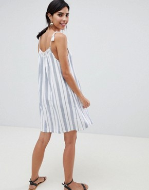 photo Tie Shoulder Embroidered Swing Dress by Abercrombie & Fitch, color White/Blue - Image 2