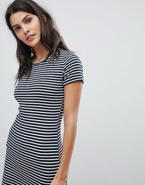 photo Stripe T-Shirt Dress by Abercrombie & Fitch, color Navy/White Stripe - Image 3