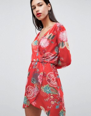 photo Printed Wrap Dress by Love, color Festival Print - Image 1