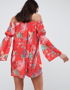 photo Off the Shoulder Printed Dress by Love, color Festival Print - Image 2