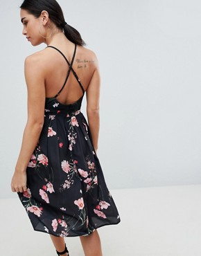 photo Printed Strappy Dress by Love, color Black Floral - Image 2