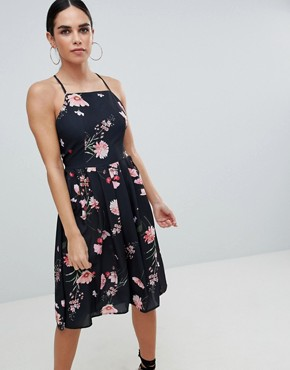 photo Printed Strappy Dress by Love, color Black Floral - Image 1