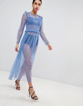 photo Mesh Maxi Dress by Love, color Blue - Image 1