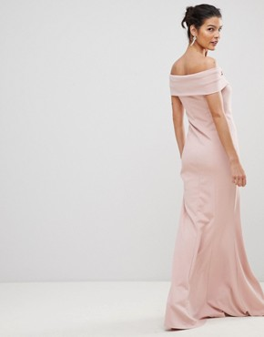 photo Bardot Maxi Dress with Metal Detail by City Goddess, color Pale Pink - Image 2