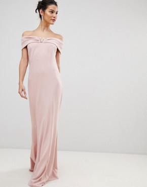 photo Bardot Maxi Dress with Metal Detail by City Goddess, color Pale Pink - Image 1