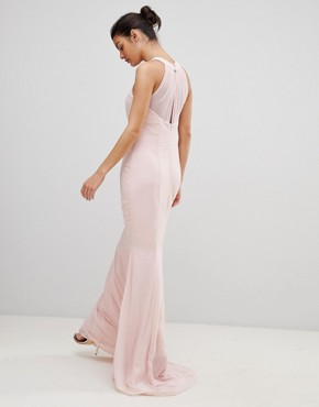 photo Halter Neck Chiffon Maxi Dress with Flower Detail by City Goddess, color Pale Pink - Image 2
