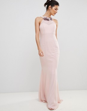 photo Halter Neck Chiffon Maxi Dress with Flower Detail by City Goddess, color Pale Pink - Image 1