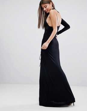 photo One Sleeve Maxi Dress by City Goddess, color Black - Image 2