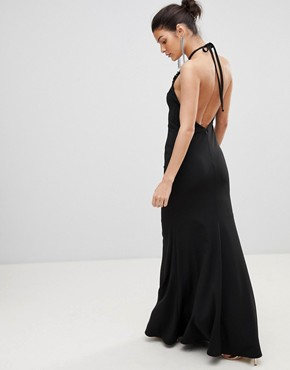photo Halter Neck Maxi Dress with Flower Detail by City Goddess, color Black - Image 2