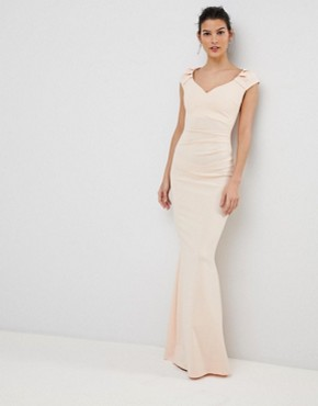 photo Pleated Maxi Dress by City Goddess, color Pale Pink - Image 1
