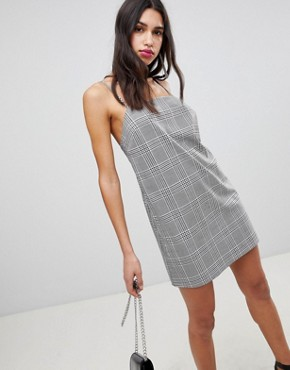 photo Mini Check Square Neck Cami Dress by ASOS DESIGN, color Multi - Image 1
