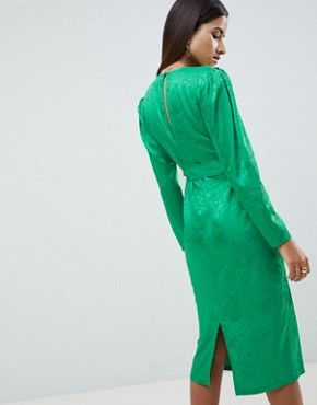 photo Jacquard Midi Dress with Belt by ASOS DESIGN, color Green - Image 2