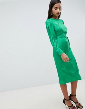 photo Jacquard Midi Dress with Belt by ASOS DESIGN, color Green - Image 1