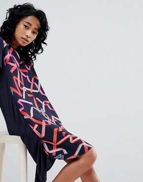 photo Silk and Jersey Dress by PS by Paul Smith, color Navy - Image 1