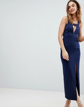 photo Deep Plunge Bodycon Maxi Dress with Thigh Split and Cut Out by ASOS DESIGN, color Navy - Image 1
