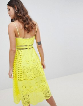 photo Lace Broderie Prom Dress by ASOS DESIGN Premium, color Yellow - Image 2