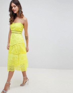photo Lace Broderie Prom Dress by ASOS DESIGN Premium, color Yellow - Image 1