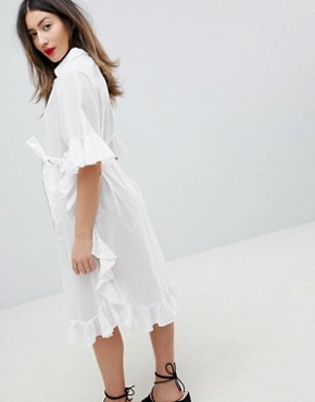 photo Longline Frill Shirt Dress by Mama.licious, color White - Image 2