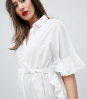 photo Longline Frill Shirt Dress by Mama.licious, color White - Image 3