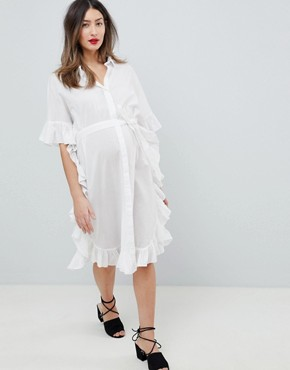 photo Longline Frill Shirt Dress by Mama.licious, color White - Image 4