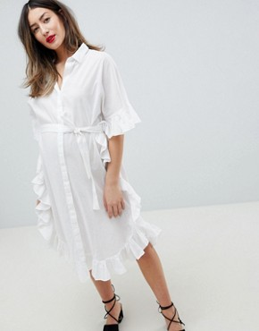 photo Longline Frill Shirt Dress by Mama.licious, color White - Image 1