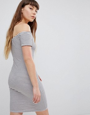 photo Off Shoulder Mini Dress with Zip in Retro Stripe by Daisy Street, color Multi - Image 2