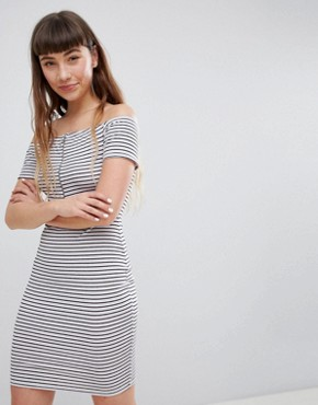 photo Off Shoulder Mini Dress with Zip in Retro Stripe by Daisy Street, color Multi - Image 1