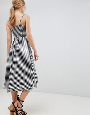 photo 90's Button Thru Gingham Midi Dress by Hollister, color Gingham - Image 2