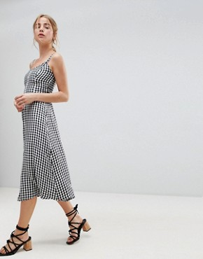 photo 90's Button Thru Gingham Midi Dress by Hollister, color Gingham - Image 1
