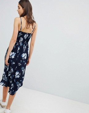 photo Floral Print Midi Dress with Lace Detail by Hollister, color Blue Print - Image 2