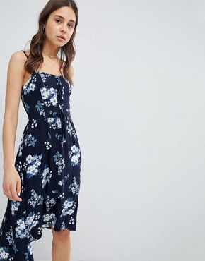 photo Floral Print Midi Dress with Lace Detail by Hollister, color Blue Print - Image 1