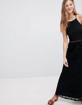 photo Sheer Lace Maxi Dress by Hollister, color Black - Image 1