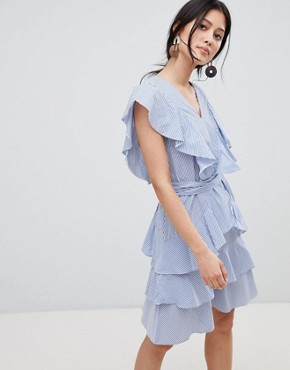photo Frill Detail Tiered Dress by Y.A.S, color Stripe - Image 1