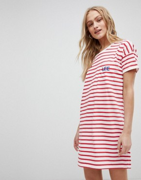 photo Stripe Logo T-Shirt Dress by Lee, color Bright Red - Image 1