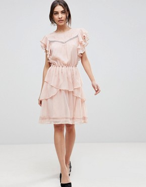 photo Ruffle Skater Dress with Lace by Y.A.S, color Pink - Image 1