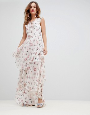 photo Soft Tiered Maxi Dress by Y.A.S, color Multi - Image 1