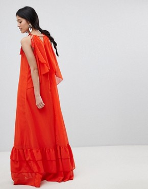 photo Halter Maxi Dress with Tiered Hem by Y.A.S, color Orange - Image 2