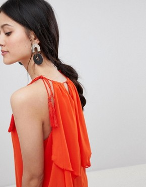 photo Halter Maxi Dress with Tiered Hem by Y.A.S, color Orange - Image 3