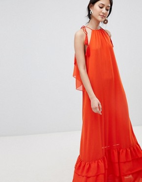 photo Halter Maxi Dress with Tiered Hem by Y.A.S, color Orange - Image 4