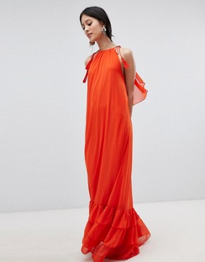 photo Halter Maxi Dress with Tiered Hem by Y.A.S, color Orange - Image 1
