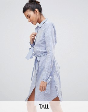 photo Tie Sleeve Shirt Dress by Y.A.S Tall, color Stripe - Image 1