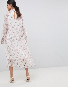 photo Floral High Neck Midi Dress by Y.A.S Tall, color Multi - Image 2