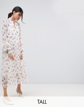 photo Floral High Neck Midi Dress by Y.A.S Tall, color Multi - Image 1