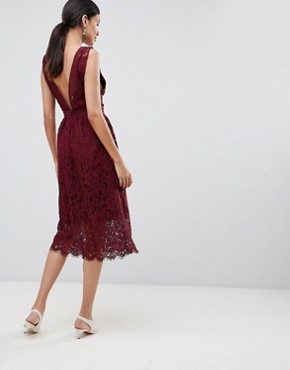 photo Lace Skater Dress by Y.A.S Tall, color Burgundy - Image 2