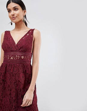 photo Lace Skater Dress by Y.A.S Tall, color Burgundy - Image 3