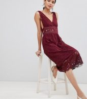 photo Lace Skater Dress by Y.A.S Tall, color Burgundy - Image 4