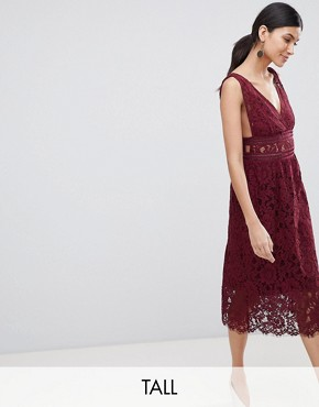 photo Lace Skater Dress by Y.A.S Tall, color Burgundy - Image 1