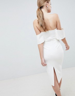 photo Plunge Front Bandeau Midi Dress by Lavish Alice, color White - Image 2